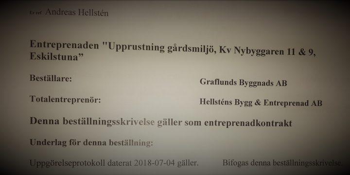 Upprustning gårdsmiljö Kv Nybyggaren 11 & 9