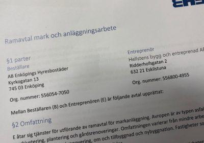 Vi tecknar nytt ramavtal med Enköpings hyresbostäder AB